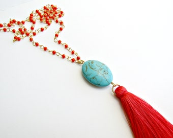 Long tassel necklace / Orange necklace / Tassel necklace / Boho beaded necklace / Summer necklace / Gift for her