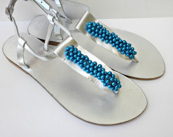 Silver shoes, Wedding sandals, Blue pearls silver flats, Greek leather sandals, Bridesmaid flats, Leather sandals, Bridal party, Beach wear