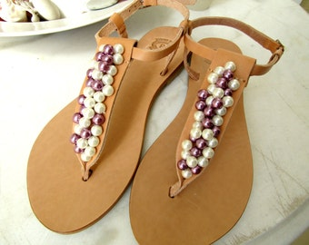 Wedding sandals, Greek sandals, Ivory and purple pearls, Summer shoes, Bridal party, Bridesmaid flats, Beach wedding, Greek leather sandals,