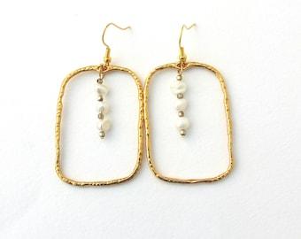 Gold rectangle earrings, Freshwater pearl earrings, Geometric earrings, Dangle rectangle earrings,Delicate long earrings, Anniversary gift