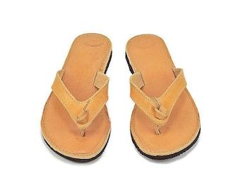 Greek leather sandals -Ancient Greek leather sandals - Women sandals - Beach shoes - Natural leather sandals - Beach flip flop sandals