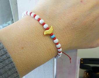 Red and white spring adjustable bracelet, Greek Martis March protection bracelet, Red white beaded with gold bird bracelet, March bracelet