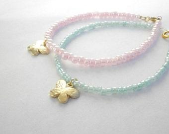 Butterfly beaded bracelets - Pastel bracelet - Gold charm bracelet - Beaded bracelet -Minimalist dainty bracelet - Friendship bracelet
