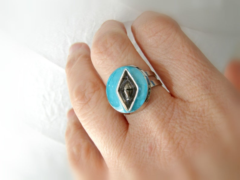 Blue ring Blue sea and boat ring Nautical ring Sea ring Round adjustable ring Blue turquoise ring Cocktail ring Gift for her