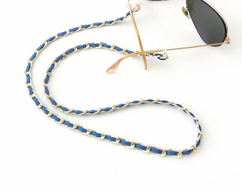 Sunglasses gold chain and blue cord Sunglasses necklace Fashion trend sunglasses gold blue chain Accessories for glasses Mother's day gift