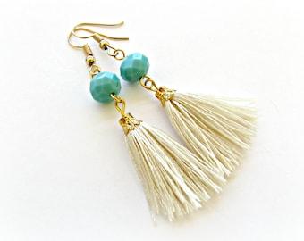 Boho tassel earrings with turquoise beads, Tassel jewelry, Party earrings, Boho earrings, Gift for her, Summer earrings