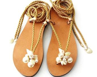 Sea shells pearls rope sandals, Wedding shell sandals, Greek leather sandals, Beach wedding sandals, Handmade sandals, Summer sandals