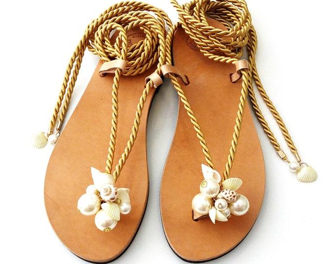 Featured listing image: Sea shells pearls rope sandals / Σανδάλια με χρυσό κορδόνι πέρλες και κοχύλια