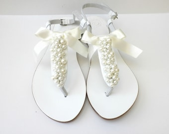 Wedding white sandals with ivory pearls and satin bow, White Greek sandals with ivory pearls, Bridal white flats /Bridesmaid shoes