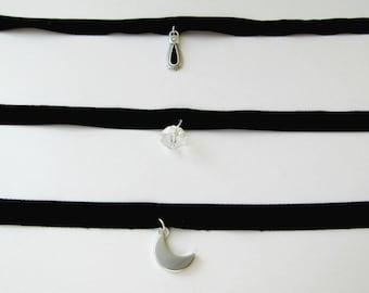Black velvet choker, Crescent choker, Charms choker, Black necklace, Moon choker, Simple Velvet Choker, Black Moon charm, Choker Necklace