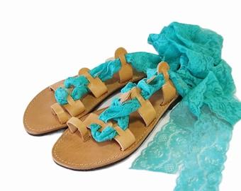 Turquoise lace up sandals, Greek leather gladiator sandals, Wedding sandals, Beach party sandals, Bridal shoes, Bridesmaids sandals