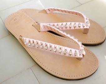 Bridal shoes -Wedding sandals with silver rhinestone pink satin ribbon-Greek leather flip flops-Summer sandals-Rhinestone decorated sandals-
