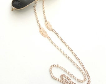 Rose gold sunglasses chain, Feather rose gold chain, Bohemian gold sunglasses chain, Eyeglasses necklace, Gold glasses chain, Glasses holder