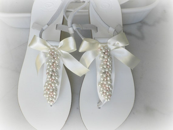 a40c2f3ff3051d Wedding leather sandals White sandals decorated mix ivory