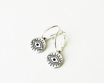 Σκουλαρίκια κρίκοι με μάτι / Hoops with silver evile eye