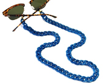 Blue acrylic sunglasses chain Blue glasses chain, Laces for sunglasses, Eyeglasses holder necklace, Reading Glass Chain, Gift For Her