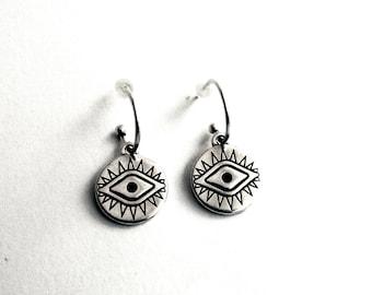 Σκουλαρίκια κρίκοι με μάτι / Silver hoops with evile eye