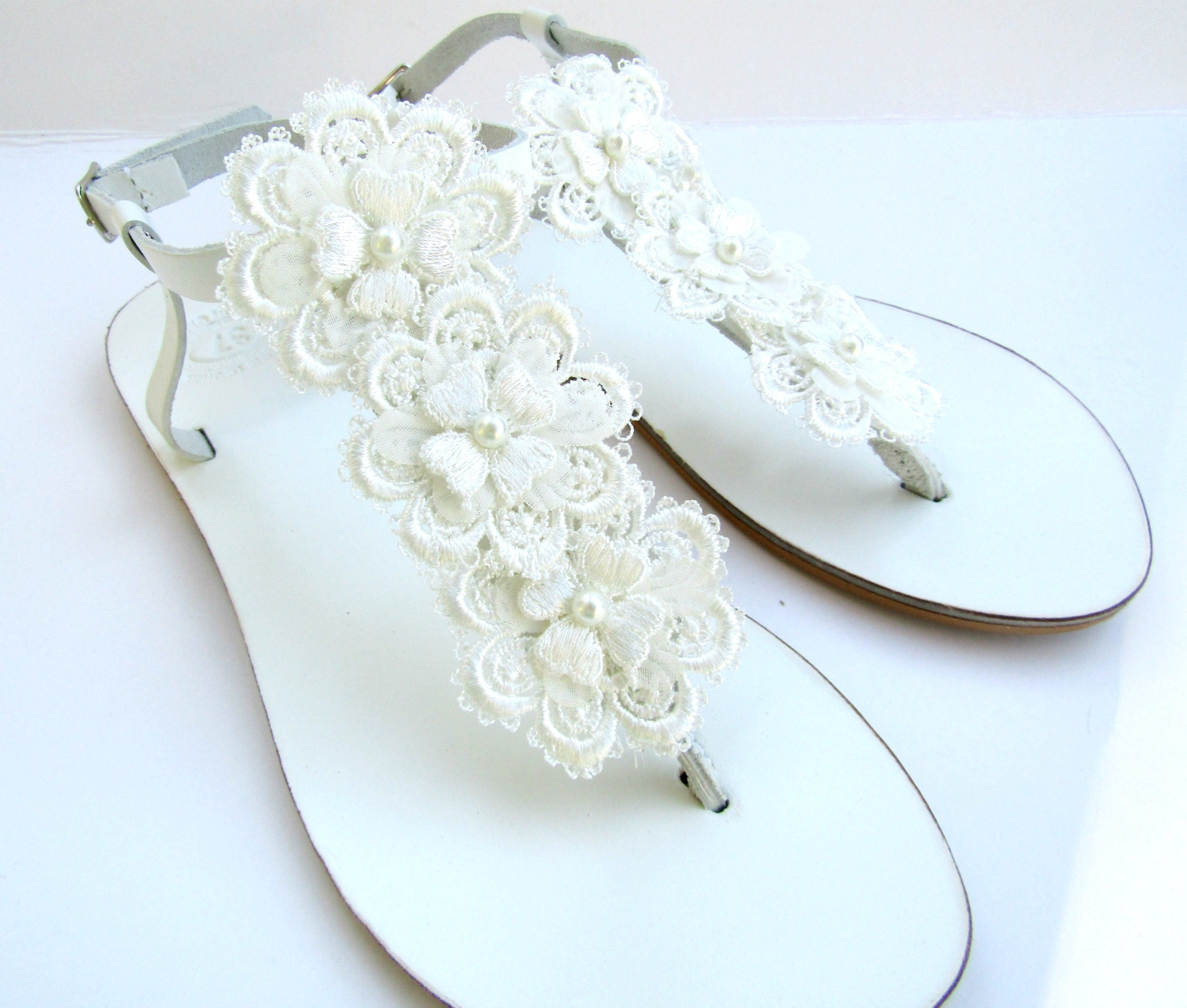 68be0a6bb465 Wedding white sandals - Greek leather - White sandals decorated with ...