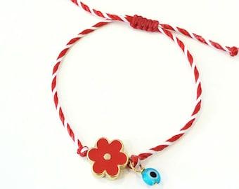 Red and white string with red enamel flower and evil eye bracelet, Red flower March bracelet, Spring adjustable bracelet, Greek Martis