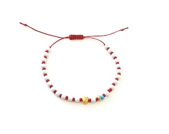 Red white beaded with gold bird bracelet, March bracelet, Red and white spring adjustable bracelet, Greek Martis March protection bracelet