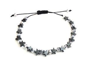 Adjustable bracelet hematite stars with glass beads, Black bracelet, Stars bracelet, Adjustable bracelet, Everyday jewelry, Gift jewelry