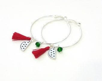 Σκουλαρίκια κρίκοι καρπούζι, Watermellon hoop earrings