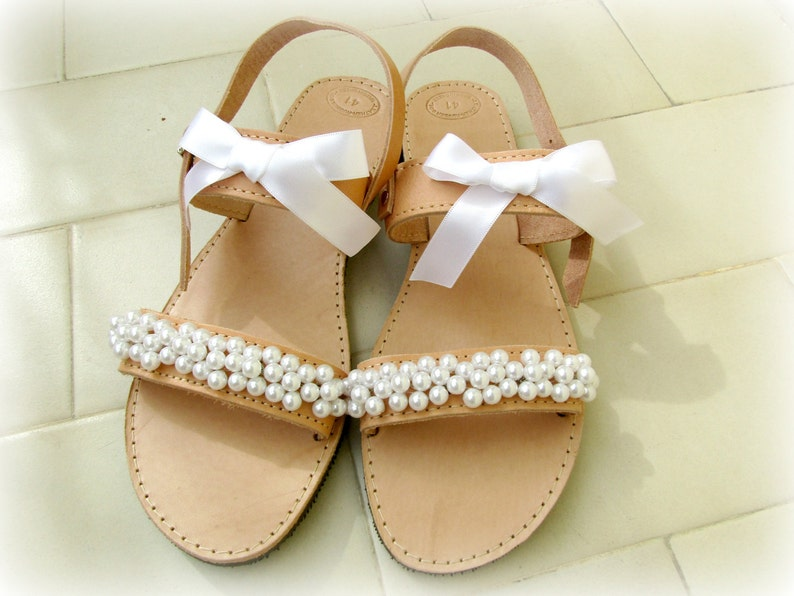 Wedding sandals   White pearl sandals   Bridal sandals   Greek