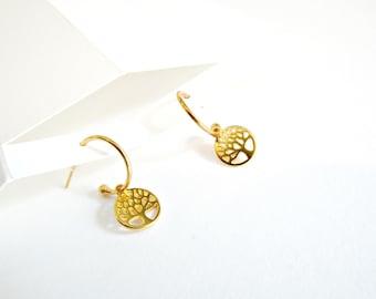 Επίχρυσα σκουλαρίκια κρίκοι με το δέντρο της ζωής / Gold hoop earrings with charm tree of life