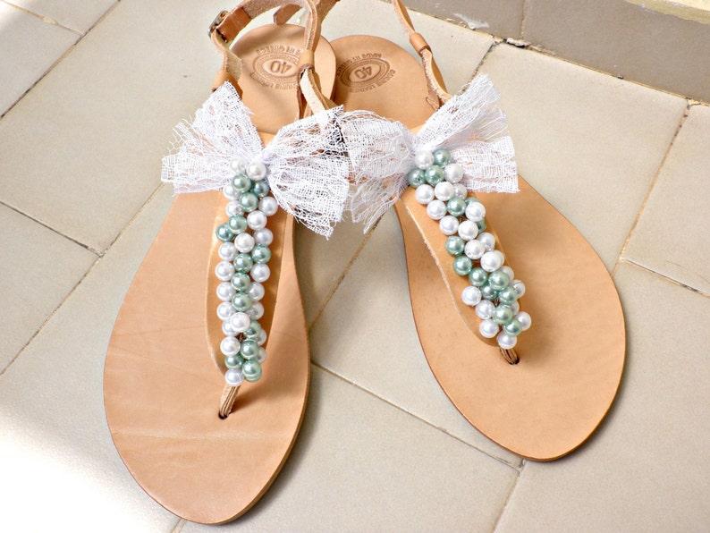0c764f584 Wedding leather sandals Pearl sandals Wedding flats Bridal