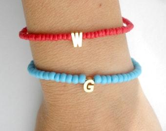 Tiny initial letter bracelet - Blue Red beaded bracelet -Monogram Personalized gold letter bracelet-Summer bracelet- - Monogram bracelet