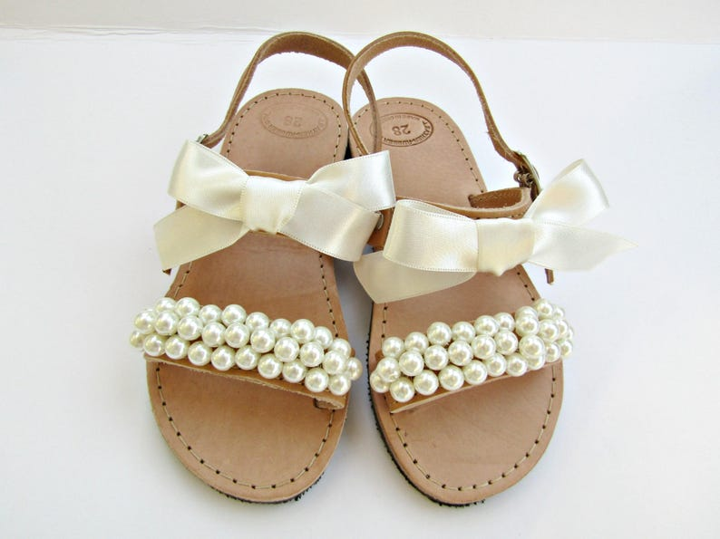 Flower girl sandals   Wedding sandals   Girl sandals  Ivory