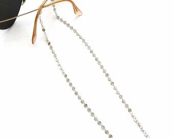 Silver sunglasses coin chain, Reading glasses chain, Eyeglasses chain necklace, Glasses laces, Fashion trend glasses holder, Gift for her
