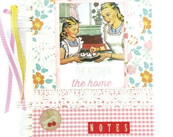Handmade Cook book, Recipes book, Cooking Journal, Scrapbooking kitchen album, Mothers day gift, Vintage floral recipes book