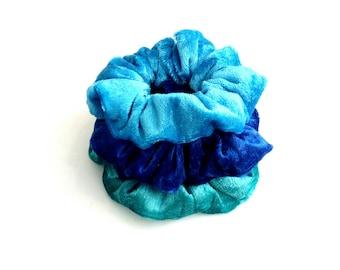 Blue velour scrunchies, Set of 3 scrunchies, Handmade scrunchies, Hair Accessories, Scrunchie Gift Set, 3 pack scrunchies, Gift for her