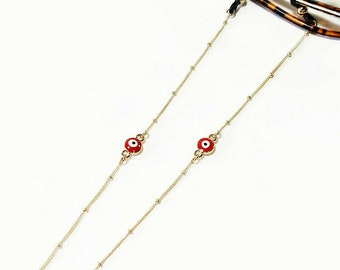 Red Evil eye sunglasses steel chain with balls, Gold glasses chain with red evil eye, Sunglasses necklace Reading glasses chain Gift for her