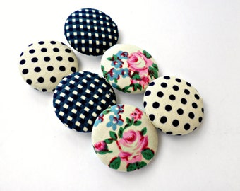 Fabric sewing buttons -Covered buttons - Size 45 28mm - Retro floral Blue pink buttons - Blue polka dots- Floral vintage buttons