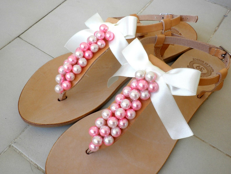 59113daa7eb Wedding sandals Greek leather sandals decorated with pink