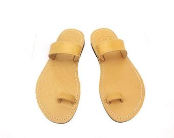 Ancient Greek sandals, Natural sandals, Toe ring sandals, Leather sandals, Handmade leather sandals, Women sandals, Beach shoes