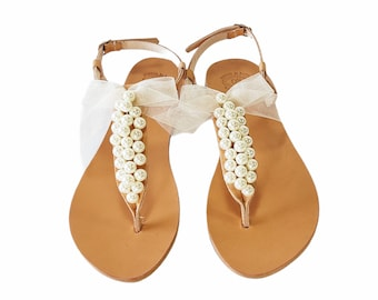Wedding leather pearl sandals, Greek sandals with ivory pearls and satin bow Bridal party shoes, Ivory women flats, Bridesmaid sandals
