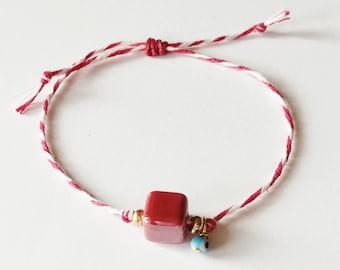 Red and white string with red bead and evil eye bracelet, Red heart March bracelet, Spring adjustable bracelet, Greek Martis