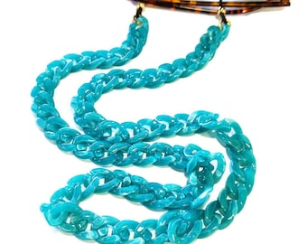 Turquoise acrylic chain, Blue glasses chain, Laces for sunglasses, Eyeglasses holder necklace, Reading Glass Chain, Gift For Her