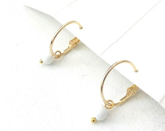 Gold hoops with dangle white beads, Minimalist earrings, White beaded hoop earrings, Delicate earrings, Everyday jewelry, Simple earrings