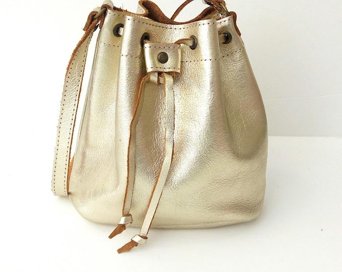 Featured listing image: Bucket gold Leather bag Greek leather bag Metalic bucket gold bag Handmade bag Gold leather shoulder bag Crossbody leather bag