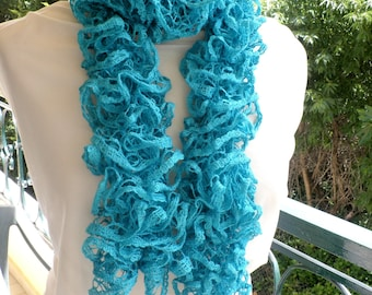 Green luxury scarf, Ruffle scarf with sequins, Emerald green frilly scarf, Gift for her, Turquoise ruffle scarf with sequins, Sparkle scarf