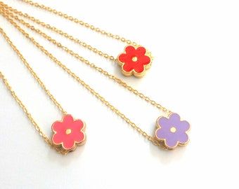 Enamel flower necklace -Dainty gold necklace - White gold necklace -Summer necklace -Gold chain necklace -Pink Turquoise flower ,Blue flower
