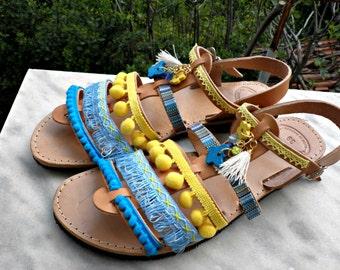 Gladiator sandals /Pom pom decorated sandals /Boho sandals/ Wedding sandals/ Greek sandals/ Bridal party/ Beach wedding/ Women summer shoes