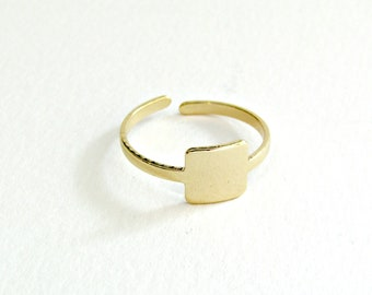 Επίχρυσο τετράγωνο δαχτυλίδι / Gold square ring