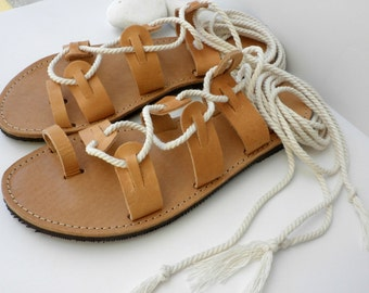 Greek leather sandals, Lace up gladiator white lace Bridal sandals,Toe ring spartian sandals,Wedding sandals,Beach wear, Summer flats