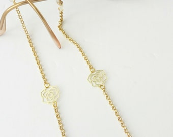 Sunglasses gold chain, Eyeglass rose necklace, Flowers sunglasses chain, Dainty reading glasses gold chain, Trendy Chain, Eyewear Holder