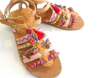 Pompom gladiator sandals, Boho sandals, Blue and orange decorated with tassel sandals, Summer flats, Sunset in Santorini, Spartan sandals